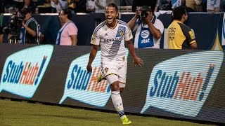 Giovani dos Santos flicks on a right-footed shot from point-blank range to the centre of the goal off a ball from Gyasi Zardes Want ...