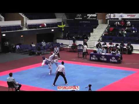 58kg Kylia BONNET (FRA) vs (BLR) NIKITSENKA Yahor (-21 European TKD Championships 2015) (видео)