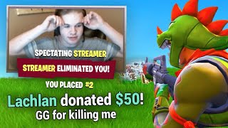 Donating To Streamers Who Kill Me In Fortnite Battle Royale!