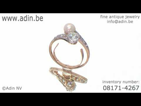 Big old cut diamond toi and moi engagement ring late Victorian early Art Nouveau (08171-4267)
