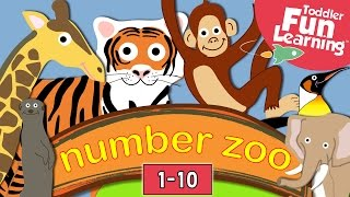 Learn to count with Number Zoo | Fun zoo animals: Lions, Elephants, Monkeys. Count 1 - 10 kids