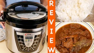 Hi Guys, today I'm reviewing the Power Pressure Cooker XL 6 Quart. LINK TO Power Pressure Cooker XL: http://amzn.to/2sfRUGB  The unit is 13 inches tall, 13 inches wide and 11.5 inches deep. The cord is 35 inches long and using an extension cord is not recommended.This is the lid with a pressure seal and vent valve. For safety, there won't be pressure build up if the lid is not closed correctly. Also, the lid can only be opened when all pressure is released. There is a rubber gasket under the lid. Turn to open the lid. The inner pot is nonstick and has a max line. Don't fill above it. It holds 6 quarts and has markings. Also, if you're cooking rice or beans, don't fill more than halfway since they'll expand during cooking. The stainless steel base has a control panel with seven modes of cooking. The different modes are listed in the manual with their cook times. All seven modes have a default time. You can press the cook time selector button and choose medium or well for longer cooking times. So if you're cooking a stew, the default setting is 10 minutes. You can change to medium which is 30 minutes or high which is 60 minutes. When you're making rice, us the selector to choose white, brown or wild rice. The time adjustment is what you use to set a specific time for cooking with any mode. The manual has a cooking chart for meat and vegetables and the amount of liquid to use. You can also cook frozen foods in this unit without defrosting, just add 10 minutes extra for meat.Included is a measuring cup, ladle, steamer tray and condensation collector. The collector goes on the back of the cooker. Empty this after each use. There is an instruction manual, recipe book with recipes for meat, soups and stews, rice and desserts. A canning manual with recipes is also included. When you first get the unit, wash the pot, lid and gasket (pull it out of the lid) with warm soapy water and dry. Put the pot in the base, fill ⅔ full with water. Put the gasket in the lid, put the lid on and turn until you hear a click. Rotate the pressure valve to the lock position. Attach plug to the cooker and then plug into a wall outlet. Press Canning mode and set for 10 minutes. When the cycle is finished, using tongs, rotate the pressure valve to the open position. This allows the pressure to release quickly. Open the lid holding onto the black handle. The steel parts are hot. Let the unit cool to room temperature and discard the water. Rinse the pot and dry it. Now you can start cooking with this unit. You saw how this pressure cooker xl performed. If you want to give this pressure cooker a try, I've put a link in the description below. You can use the unit to sautee onions and brown meat before you make a stew. The lamb was moist and absorbed all the flavors in the gravy. The rice was cooked perfectly at about the same or faster than some rice cookers. There was no issue with the unit coming up to pressure and releasing it. I hope you found this review useful. Share this video and subscribe for reviews of products you use every day. Thanks for watching. I'll see you next time :)