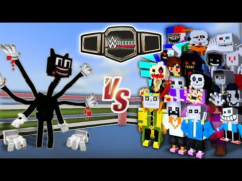 Cartoon Cat vs. Undertale Gang | Minecraft (WRESTLING MATCH!)