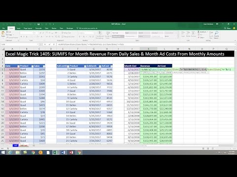 Excel Magic Trick 1405: Monthly Totals Report: Sales from Daily Records, Costs from Monthly Records