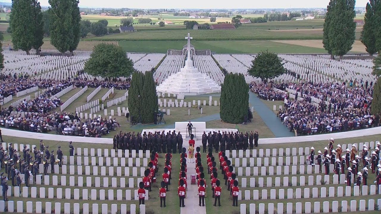 The remembrance ceremony at Tyne Cot Cemetery, Belgium on 31-07-2017.