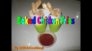 How to make baked chicken fries! INGREDIENTS: 4 Chicken breasts 5 Eggs 1 cup of flour 2 cups bread crumbs 1 tsp paprika 1/2...