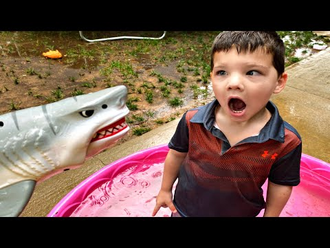 Rainy Day Routine! Caleb & Mommy play in Muddy Puddles with Baby Shark in Rain STORM