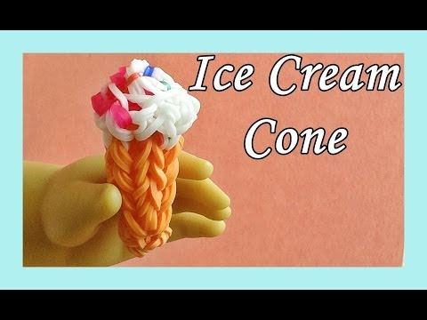Rainbow Loom Charms: Ice Cream Cone (3D)! (DIY Mommy, Fun Loom, Crazy Loom, Food, AG Doll)