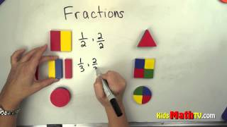 Understanding the Basics of Fractions Video Using Shapes. http://www.kidsmathtv.com/videos-by-level/ In this lesson kids will learn how to identify different fraction values with the aid of different shapes. This tutorial serves as an introduction to the concept of fractions and will be suitable for children in Kindergarten, 1st and 2nd grades depending on their level of understanding. Use this to facilitate the process for your kids.