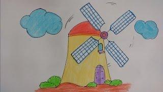 How to draw windmill for kids, Draw windmill step by step, Draw windmill by alphabet X step by step