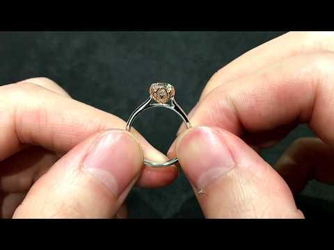 Flower Lotus Diamond Engagement Ring Design with Rosegold Petal Prongs
