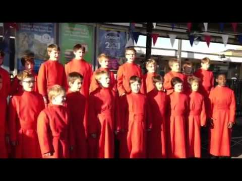 "Choristers from Ely Cathedral and ""Ely Cathedral"" train naming ceremony"