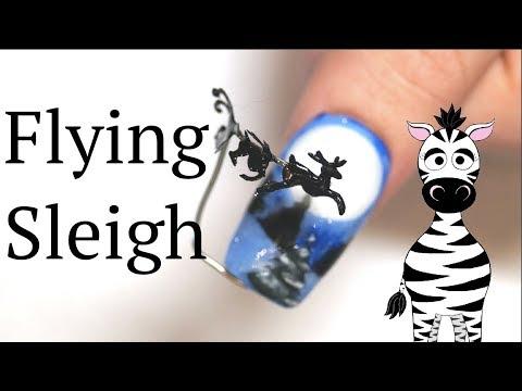 Acrylic nails - 4D Flying Santa Sleigh and Reindeer Acrylic Nail Art Tutorial  #NotPolish