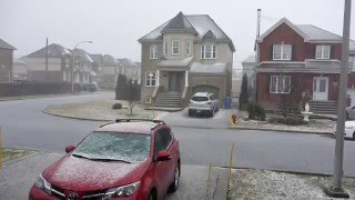 Brossard (QC) Canada  city photos : Hail falls in Brossard, Quebec, Canada on April 3rd, 2016.