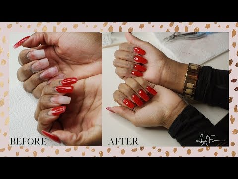 Acrylic nails - WATCH ME FIX MY BUSTED NAILS AT HOME  ACRYLIC FILL IN + SHAPING