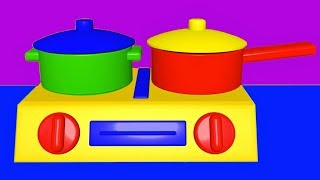 Educational video for babies, toddlers, preschoolers teaching colors and the names of vegetables with animated toy kitchen cooking soup and ball pit videos.