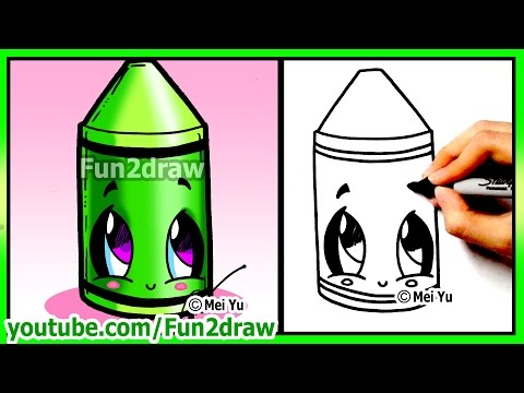 Learn to Draw step by step - Back to School Cute Crayon Art - Best Drawing Lessons by Fun2draw