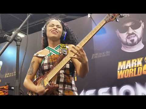 Mohini Dey at the Mark Bass booth, NAMM 2019