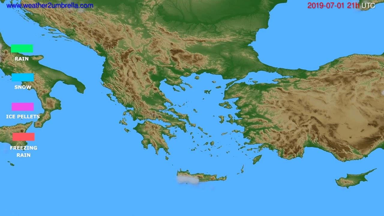 Precipitation forecast Greece // modelrun: 00h UTC 2019-06-30