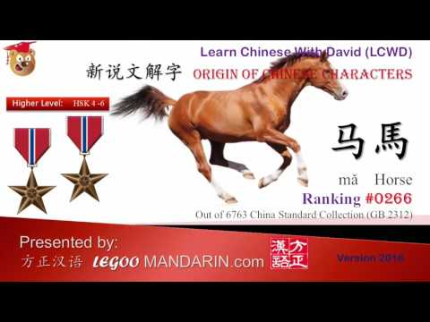 Origin of Chinese Characters 0266 马馬 horse - Learn Chinese with Flash Cards