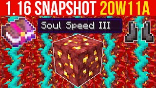 Minecraft 1.16 Snapshot 20w11a Soul Speed Enchantment, Nether Gold Ore, Twisted Vines!
