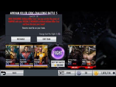 Injustice iOS Arkham Killer Croc Challenge Nightmare Boss Fight