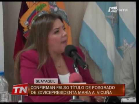 Confirman falso título de posgrado de ex vicepresidenta María A. Vicuña