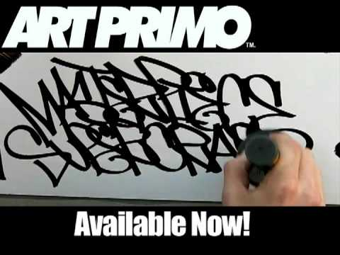 tags - Art Primo Graffiti supplies demo: We have relaunched a previously banned video. Learn how to tag with this huge calligraphy marker.