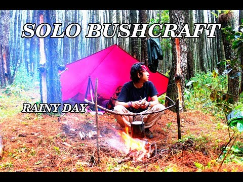 SOLO BUSHCRAFT INDONESIA FOREST | RAINY DAY WITH FLYSHEET | EXTERNAL FRAME BACKPACK