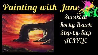 "In this video, we're gonna get together and learn how to paint a dramatic sunset at a rocky beach with an arched rock. This is a good lesson for beginners on up!I'm painting on a 12x16-inch stretched canvas, but you can paint on any type and size of canvas you like.I used:• A 1-inch flat brush (available at www.paintingwithjane.com)• A variety of angle brushes (5/8, 1/2, & 1/4-inch)• #6 cloud brush (available at www.paintingwithjane.com)• A piece of chalk• Matte medium (optional)I'm using Liquitex Basics acrylic paint in the following colors:• Mars Black• Titanium White• Quinacridone Magenta• Primary Yellow• Ultramarine BlueBut you can use any colors you like.Check out my Patreon page! Become a patron and get some awesome rewards. http://bit.ly/29OV2VIGrab a set of my paint brushes, Art Monster swag, my original paintings, and sign up for my mailing list on my website at www.paintingwithjane.com or http://bit.ly/2esWni7Find me on Facebook here: http://bit.ly/28XweuxInstagram here: http://bit.ly/2jnykTTTwitter here: http://bit.ly/2icHNj7Notice: No part of this video may be reproduced or distributed without written permission from me. The painting demonstrated is owned by the artist and Pandemonium Art Gallery, and may not be reproduced except by individuals for the purpose of learning these techniques. This tutorial and painting presented are not available for commercial purposes and may not be duplicated to be used for classes or commercial sale without written permission from me. The artwork contained in this video © 2017 by Jane Font All Rights Reserved""Garden Music"" Kevin MacLeod (incompetech.com)Licensed under Creative Commons: By Attribution 3.0 Licensehttp://creativecommons.org/licenses/by/3.0/ Thanks for watching!"