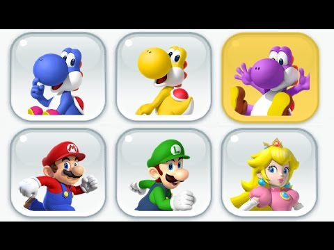 Super Mario Run - New Characters - Toad Rally (Blue, Yellow and Purple Yoshi)