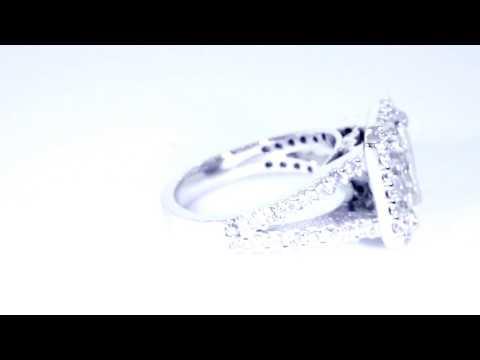 Halo Engagement Ring Setting Radiant, Emerald Cut Diamond, 1.0CT Sides EWK1634W1