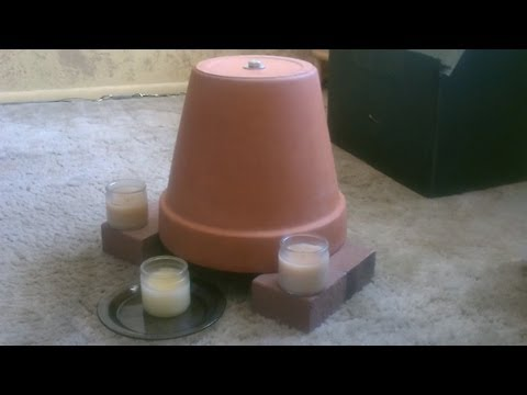 heater - Candle Powered Heater DIY Space Heater. Clay/Terracotta pots absorb the thermal energy of the candles and convert it into radiant space heat. Reaches tempera...