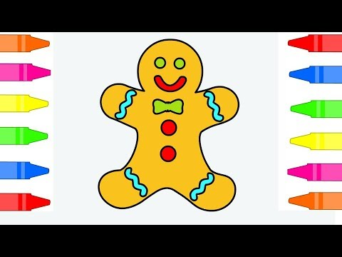 Gingerbread Man Coloring Pages For Kids Children – Drawing and Coloring Gingerbreadman Simple Art