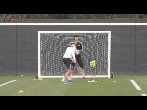 petr - Chelsea's Petr Cech caught preparing for the Galatasaray game completing a brilliant training drill involving multiple balls and a tennis racket. Champions L...