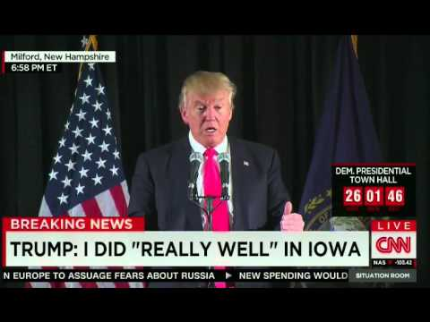 Trump Puts A Spin On His Iowa Defeat