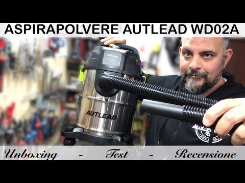 Aspirapolvere AUTLEAD WD02A. Aspira liquidi 1000W 20L. Soffiatore. Acciaio. acqua. Vacuum cleaner