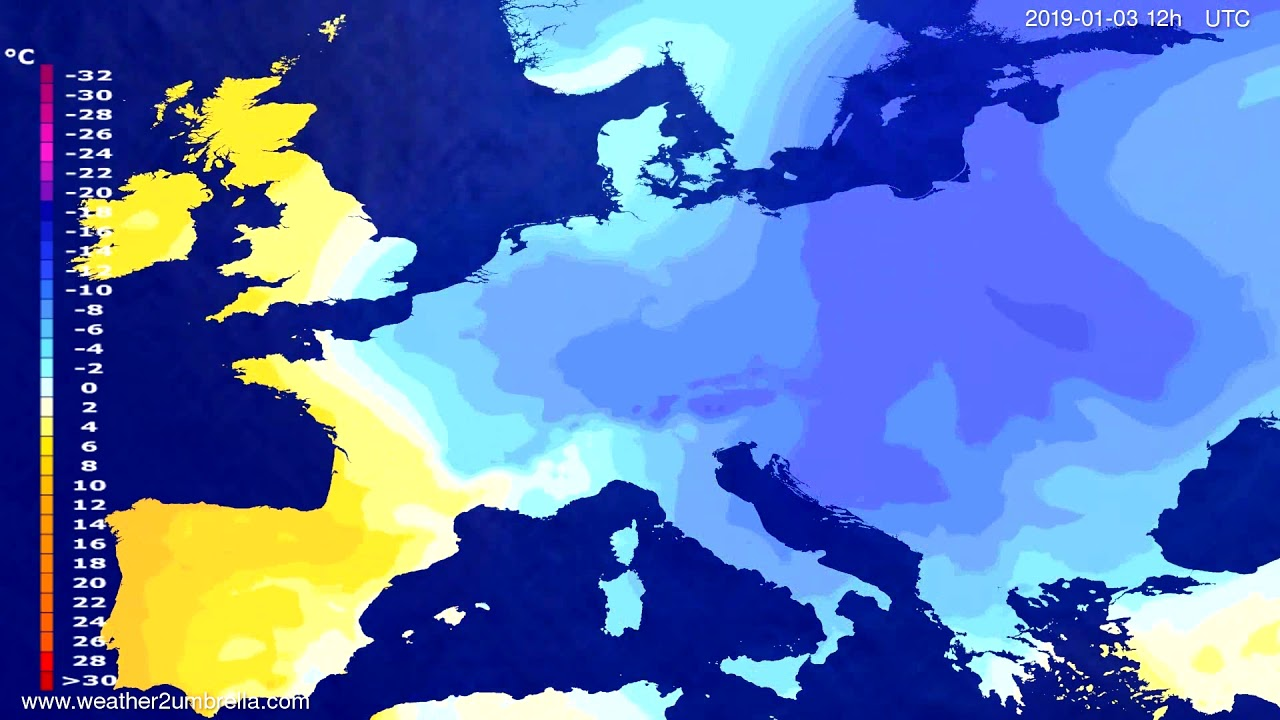Temperature forecast Europe 2019-01-01
