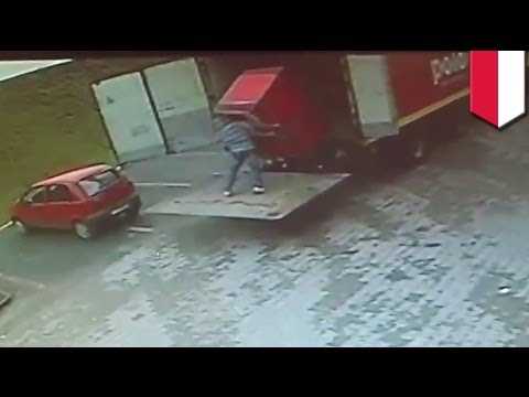 footage - Shocking CCTV footage taken in December, 2012 shows a Polish man crushed by a fridge while attempting to unload a truck. In the footage, which was uploaded t...