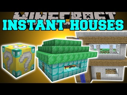 Minecraft: INSTANT HOUSE MOD (CUSTOM HOUSES, TREE HOUSE, LIBRARY & MORE!) Mod Showcase