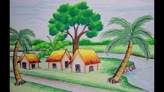 Video how to draw a village scenery II  কিভাবে একটি গ্রামের ছবি আঁকতে হয় MP3, 3GP, MP4, WEBM, AVI, FLV Mei 2019
