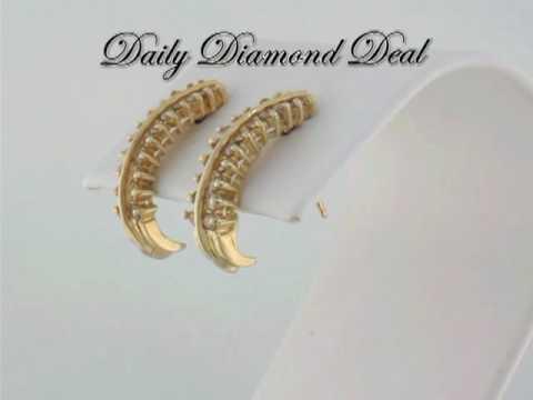 14K Yellow Gold Womens J Hoop Diamond Earrings 1/2 CT www.DailyDiamondDeal.com