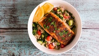 For full details on this recipe visit my blog http://tomtotable.com/mediterranean-roasted-salmon-vegetable-quinoa-bowl/ You've ...