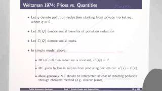 Topic 7: Public Goods And Externalities Part 1 | Econ2450A: Public Economics
