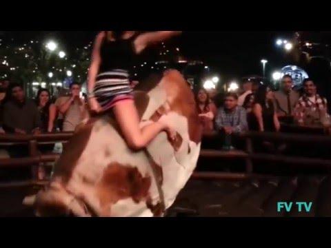 Funny videos - Hot girl mini Skirt riding Mechanical Bull Fails - Funny fails Girls - FUNNY VIDEOS