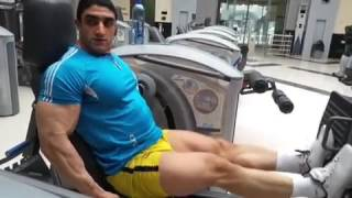Hot Iranian bodybuilder training legs