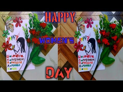 Birthday greetings - //Happy women's day handmade greeting// simple easy card///