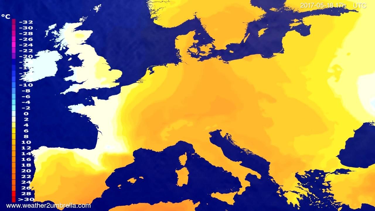 Temperature forecast Europe 2017-05-16