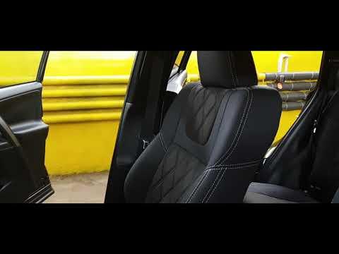 """Чехлы на Toyota RAV-4, """"Aurora"""" с ромбами и продленной алькантарой - серая строчка"""