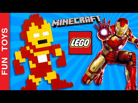 Iron Man on Minecraft or Lego! Build it! Captain America Civil War #TeamIronMan vs #TeamCap Who wins:  In this video you can learn to build an Iron Man in the 8-bit style (similar to video game character Mario Bros or PacMan) with Lego pieces or if you prefer, in Minecraft.We started a competition to find out which super hero has more fans, Iron Man or Captain America ? Are you#TeamIronMan or #TeamCap ?To help your favorite hero watch the video, click the like button and comment. We will be counting video views, likes and comments to decide wich hero wins! Share the video of your favorite hero and ask your friends to participate!Do not forget to LIKE and SHARE the video.And please Subscribe: http://www.youtube.com/funtoysbrinquedosvideos/videos?sub_confirmation=1Comment below if you liked the